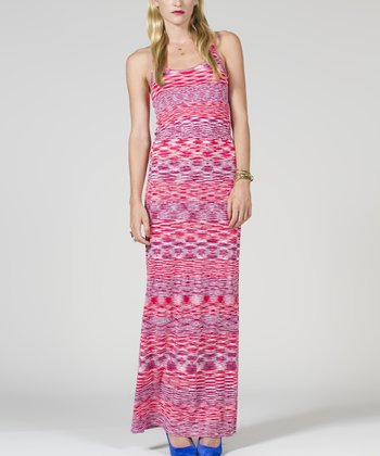 Fuchsia Stripe Racerback Maxi Dress - Women