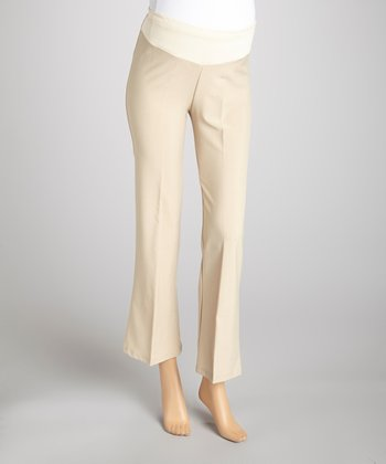 Khaki Under-Belly Maternity Pants - Plus