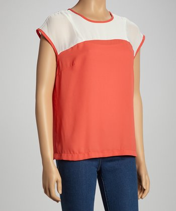 Coral & White Color Block Cap-Sleeve Top - Women