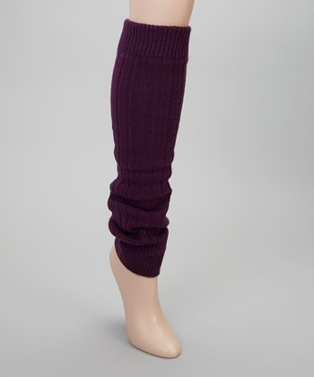 Purple Ribbed Leg Warmers