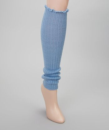 Blue Ribbed Ruffle Leg Warmers
