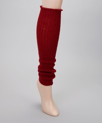 Burgundy Ribbed Ruffle Leg Warmers