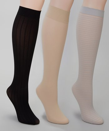 Silver, Nude & Black Trouser Socks Set