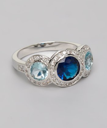 White Gold & Blue Triplet Ring