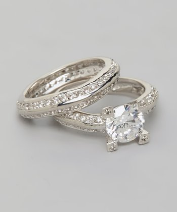 White Gold & Round-Cut Crystal Double Band Ring