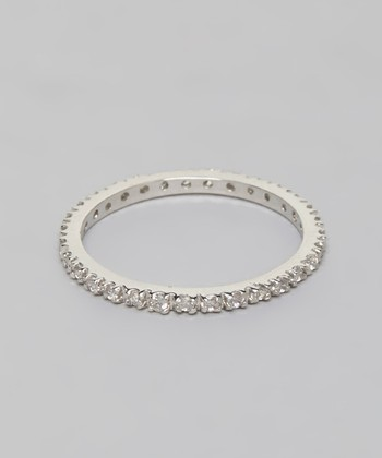 Silver Round-Cut Cubic Zirconia Simple Eternity Ring