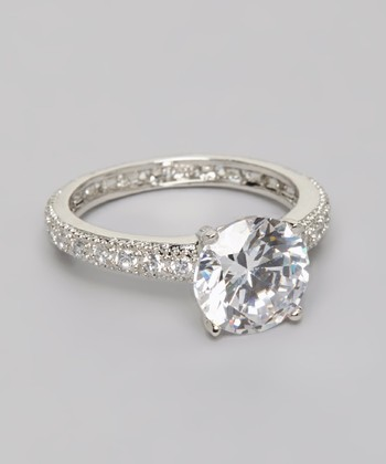Silver Cubic Zirconia Micropave Engagement Ring