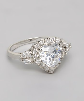 Silver Heart Cubic Zirconia Halo Engagement Ring