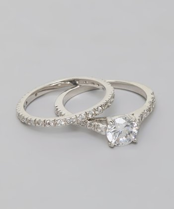 Silver Round Cut Cubic Zirconia Engagement Ring Set