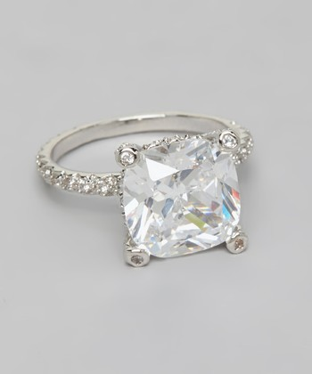 Silver Cubic Zirconia Gem Engagement Ring