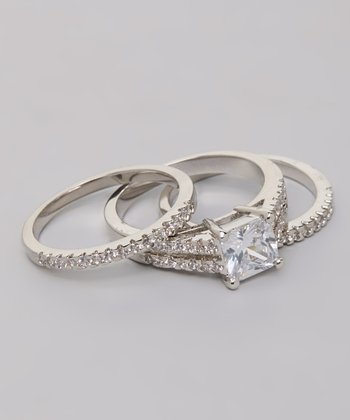 Silver Princess-Cut Cubic Zirconia Ring Set