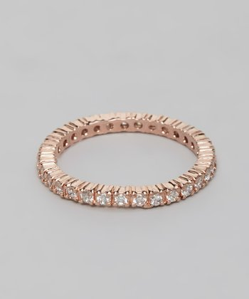 Rose Round Cut Cubic Zirconia Eternity Ring
