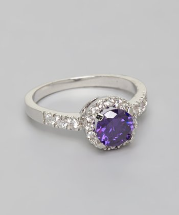 Silver & Purple Round Cut Cubic Zirconia Ring