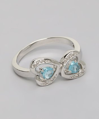 Silver & Aqua Mirror Hearts Fashion Ring