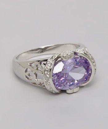 Silver Oval Cut Lavender Cubic Zirconia Cocktail Ring