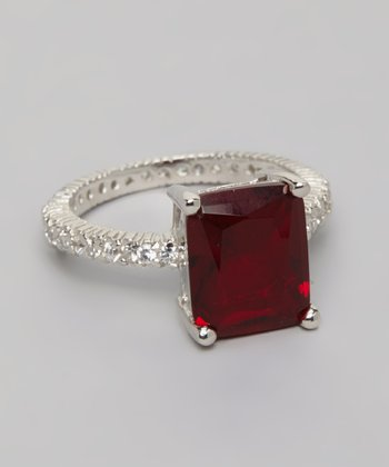 Silver Princess Cut Ruby Engagement Ring