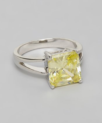 Silver Princess Cut Peridot Solitaire Ring