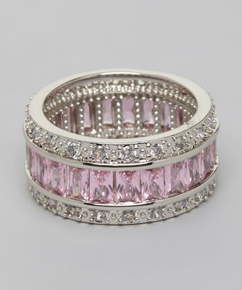 Silver Clear & Pink Crystal Stacked Fashion Ring