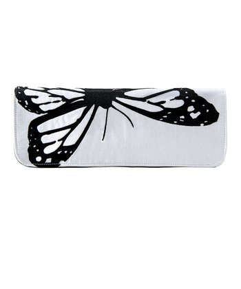 Ivory Papillon Silk Clutch