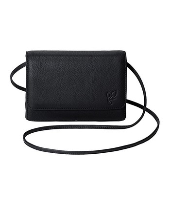 Black Leather Basic Black Crossbody Bag