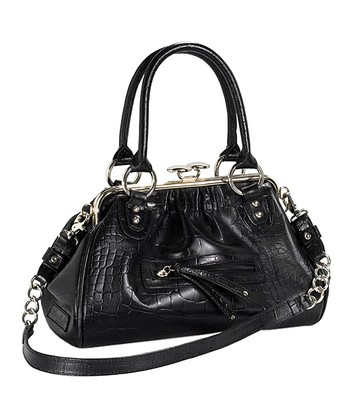 Black Leather Impact Satchel