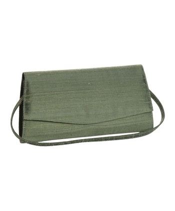 Olive Green Silk Olivine Clutch