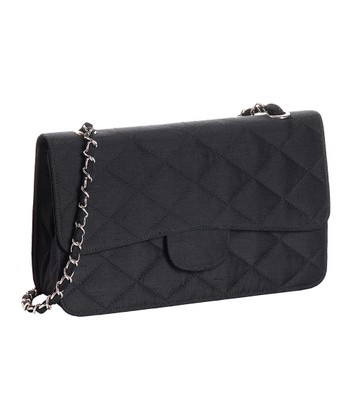 Black Silk Quilted Touch of Class Shoulder Bag