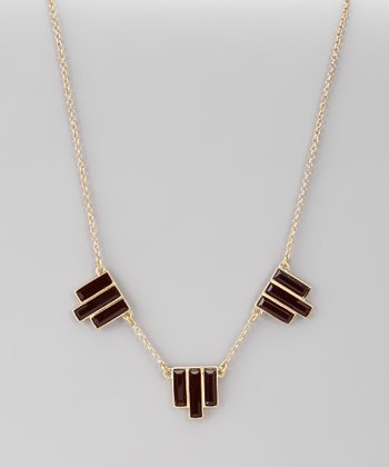 Gold & Red Geometric Necklace