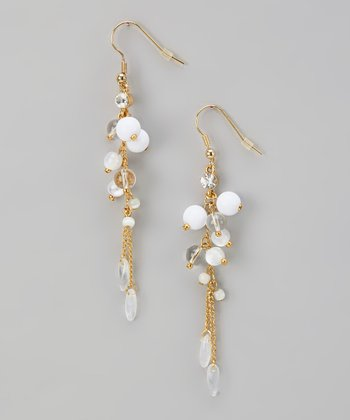 White & Gold Chain Earrings
