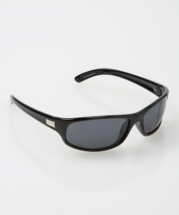 Black Sport Wrap Sunglasses