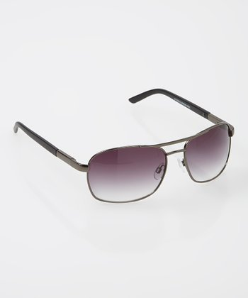 Hematite & Black Pilot Sunglasses