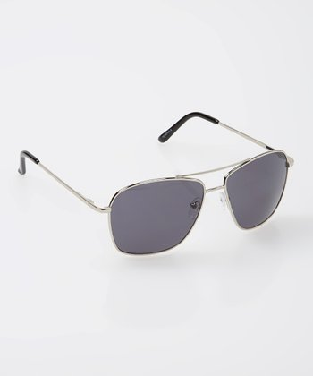 Silver & Black Pilot Sunglasses