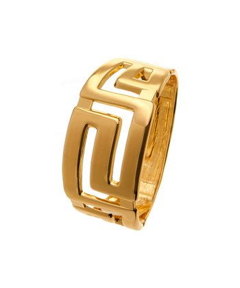Gold Geometric Hinged Bangle