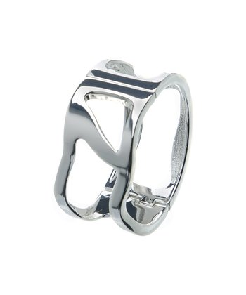 Silver Cutout Hinged Bangle