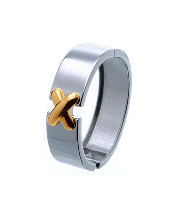 Silver & Gold 'X' Hinged Bangle