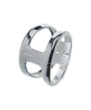 Silver Wide Cutout Convex Hinged Bangle