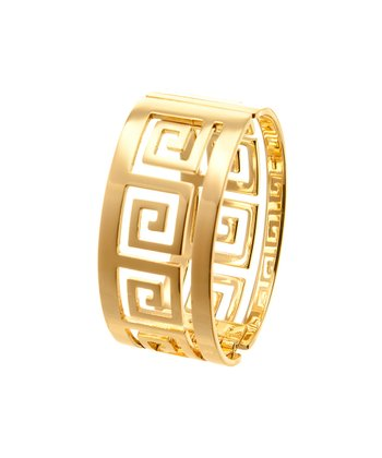 Gold Wide Tribal Hinged Bangle
