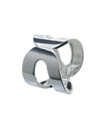 Silver Wide Cutout Hinged Bangle