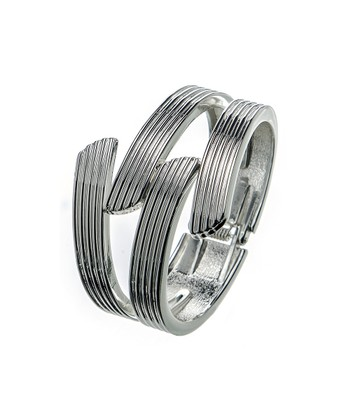 Silver Ribbed Forked Hinged Bangle
