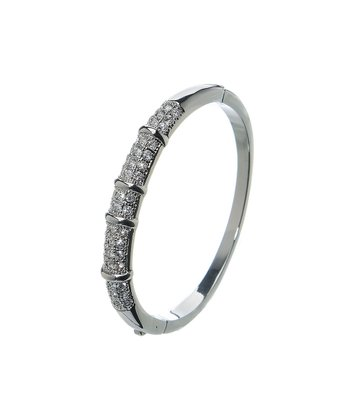 Cubic Zirconia & Silver Sleek Bangle