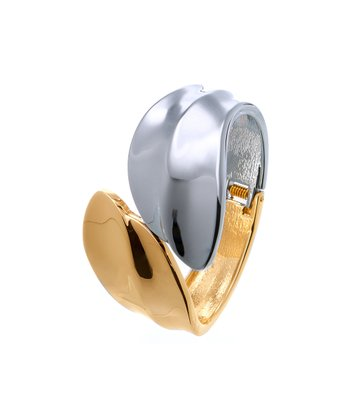 Gold & Silver Overlapping Hinged Bangle