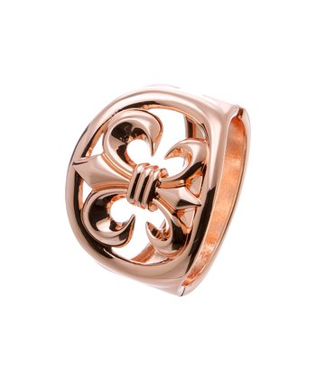 Rose Gold Fleur-de-Lis Hinge Bangle