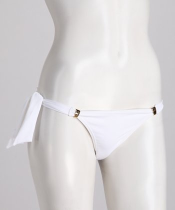 White & Gold Side-Tie Bikini Bottoms