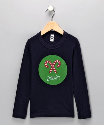 Navy & Green Candy Cane Personalized Tee - Infant, Toddler & Boys