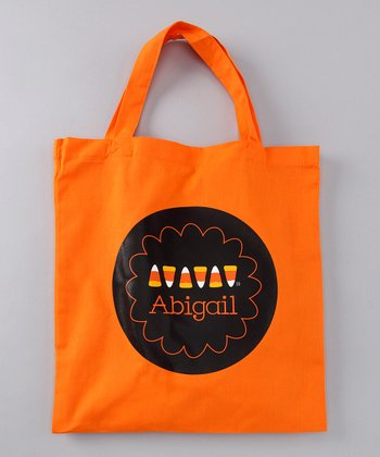 Candy Corn Scallop Personalized Tote
