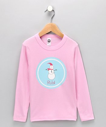 Pink & Blue Snowman Personalized Tee - Infant, Toddler & Girls
