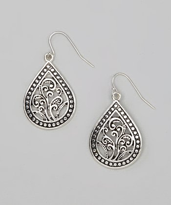 Silver Bali Teardrop Earrings