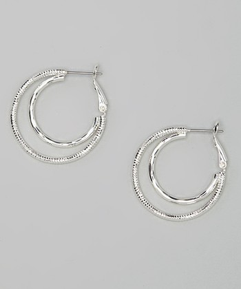 Silver Double Circle Hoop Earring