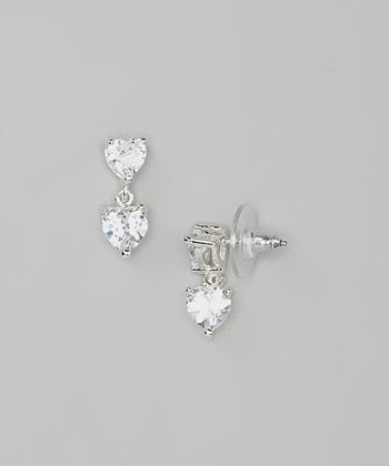 Silver Sparkle Heart Simulated Diamond Drop Earrings