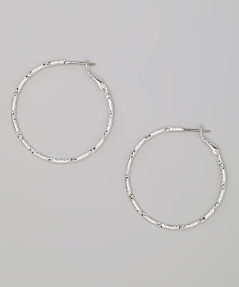 Silver Diamond-Cut Hoop Earrings